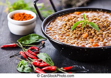 indian food - Indian style lentil soup with red hot chili...
