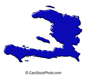 Haiti 3d map with national color isolated in white