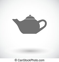 Kettle. Single flat icon on white background. Vector...
