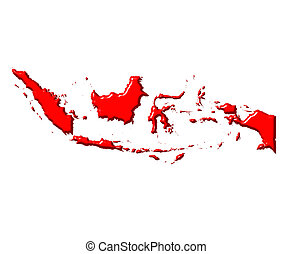 Indonesia 3d map with national color isolated in white