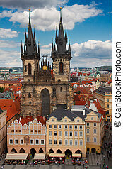 Tyn cathedral church at summer day, Prague, Czech Republic