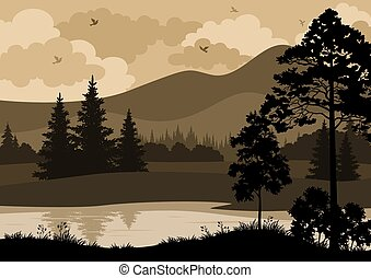 Landscape, Trees, Mountains and River - Landscape with...