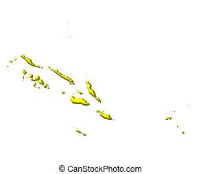 Solomon Islands 3d map with national color isolated in white