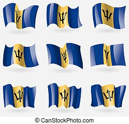 Set of Barbados flags in the air. Vector