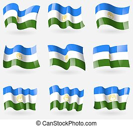 Set of Bashkortostan flags in the air. Vector