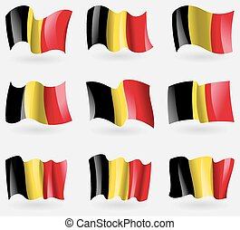Set of Belgium flags in the air. Vector