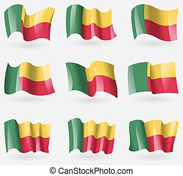 Set of Benin flags in the air. Vector