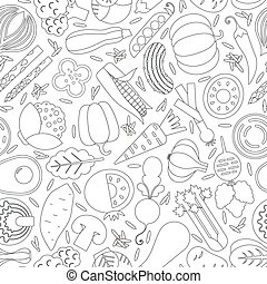 Vegetable Seamless - Vector seamless pattern with different...