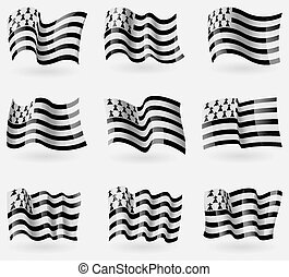 Set of Brittany flags in the air Vector illustration