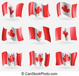 Set of Canada flags in the air. Vector