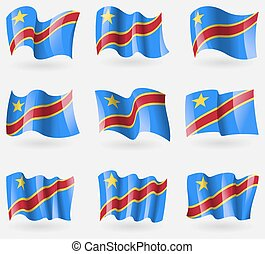 Set of Congo Democratic Republic flags in the air. Vector