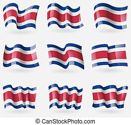 Set of Costa Rica flags in the air. Vector