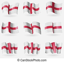 Set of England flags in the air Vector illustration