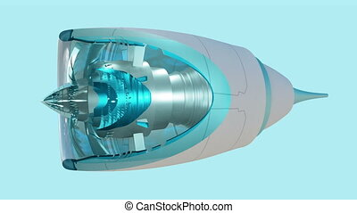 Commercial jet engine animation cross section view