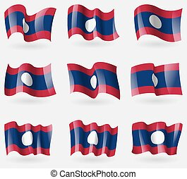 Set of Laos flags in the air. Vector