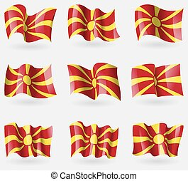 Set of Macedonia flags in the air. Vector