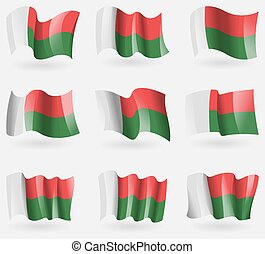 Set of Madagascar flags in the air. Vector