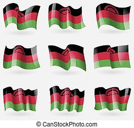 Set of Malawi flags in the air. Vector