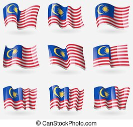 Set of Malaysia flags in the air. Vector