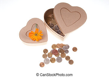 present box with a flower and coins