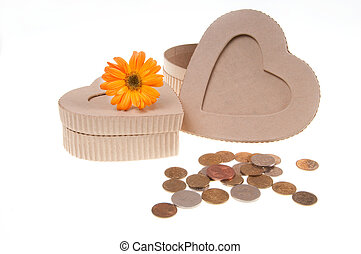 present box with coins