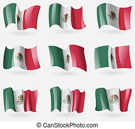 Set of Mexico flags in the air. Vector illustration