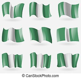 Set of Nigeria flags in the air. Vector illustration