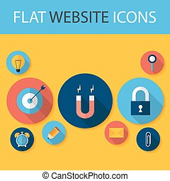 Set of Five Flat Circle Website Icons Flat Stylized Circle...