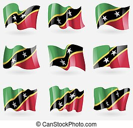 Set of Saint Kitts and Nevis flags in the air. Vector...