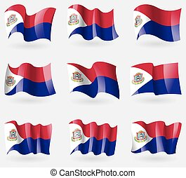 Set of Saint Martin flags in the air. Vector illustration