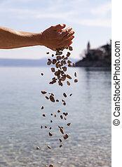 Manos, goteante, pequeño, piedras,