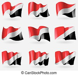Set of Sealand Principality flags in the air. Vector...