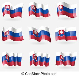 Set of Slovakia flags in the air. Vector
