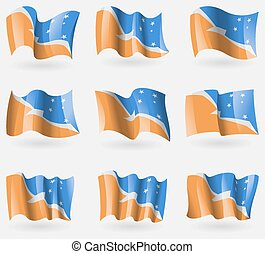 Set of Tierra del Fuego Province flags in the air. Vector...