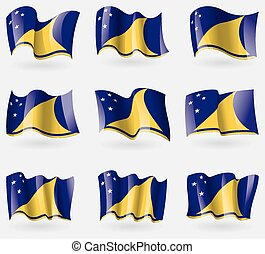 Set of Tokelau flags in the air Vector illustration