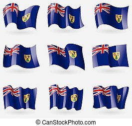 Set of Turks and Caicos flags in the air. Vector...