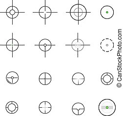 Crosshairs icons. Vector.