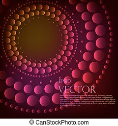 Abstract pattern of graduated turquoise shiny dots or circles going from the darkest at the outer edge around a central black hole or vortex with copyspace