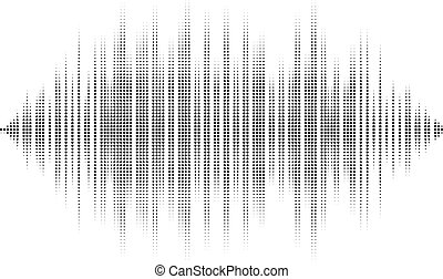 Waveform background isolated. Black and white halftone...