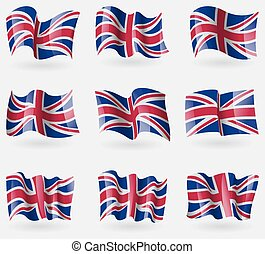 Set of United Kingdom flags in the air. Vector