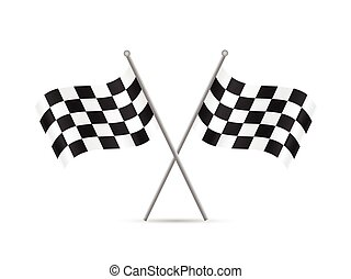 Checkered Flags - Illustration of checkered flags isolated...