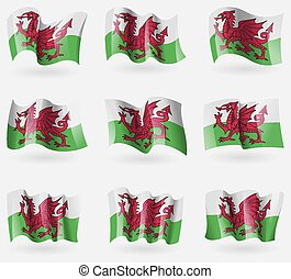 Set of Wales flags in the air. Vector