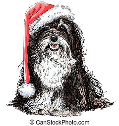 Shih Tzu with santa claus hat hand drawn vector , use for...