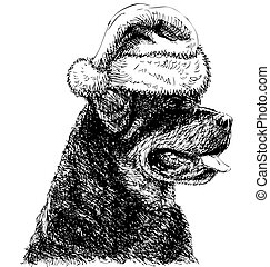 Rottweiler with santa claus hat hand drawn vector , use for...