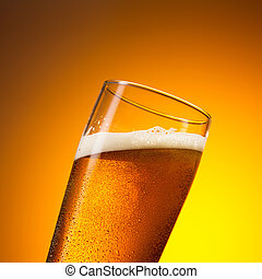 cold german beer with drops of condensation - A glass of...