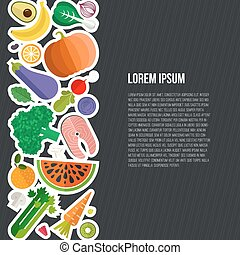 Healthy eating concept - Healthy eating vector concept with...