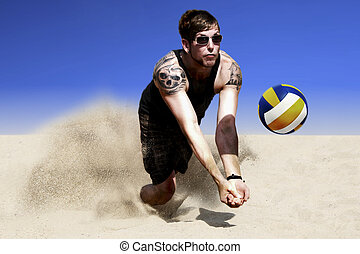 Sand Volleyball Hit - Dynamic Photo Of A Jump For Hit In A...