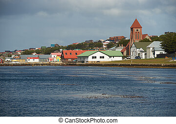Falkland Islands Capital - Historic buildings along the sea...