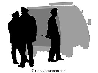 Police men and car - People of special police force on white...