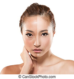 woman before and after retouch - Face of beautiful Asian...